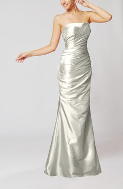 Silver Elegant Church Mermaid Strapless Sleeveless Zipper Ruching Bridal Gowns