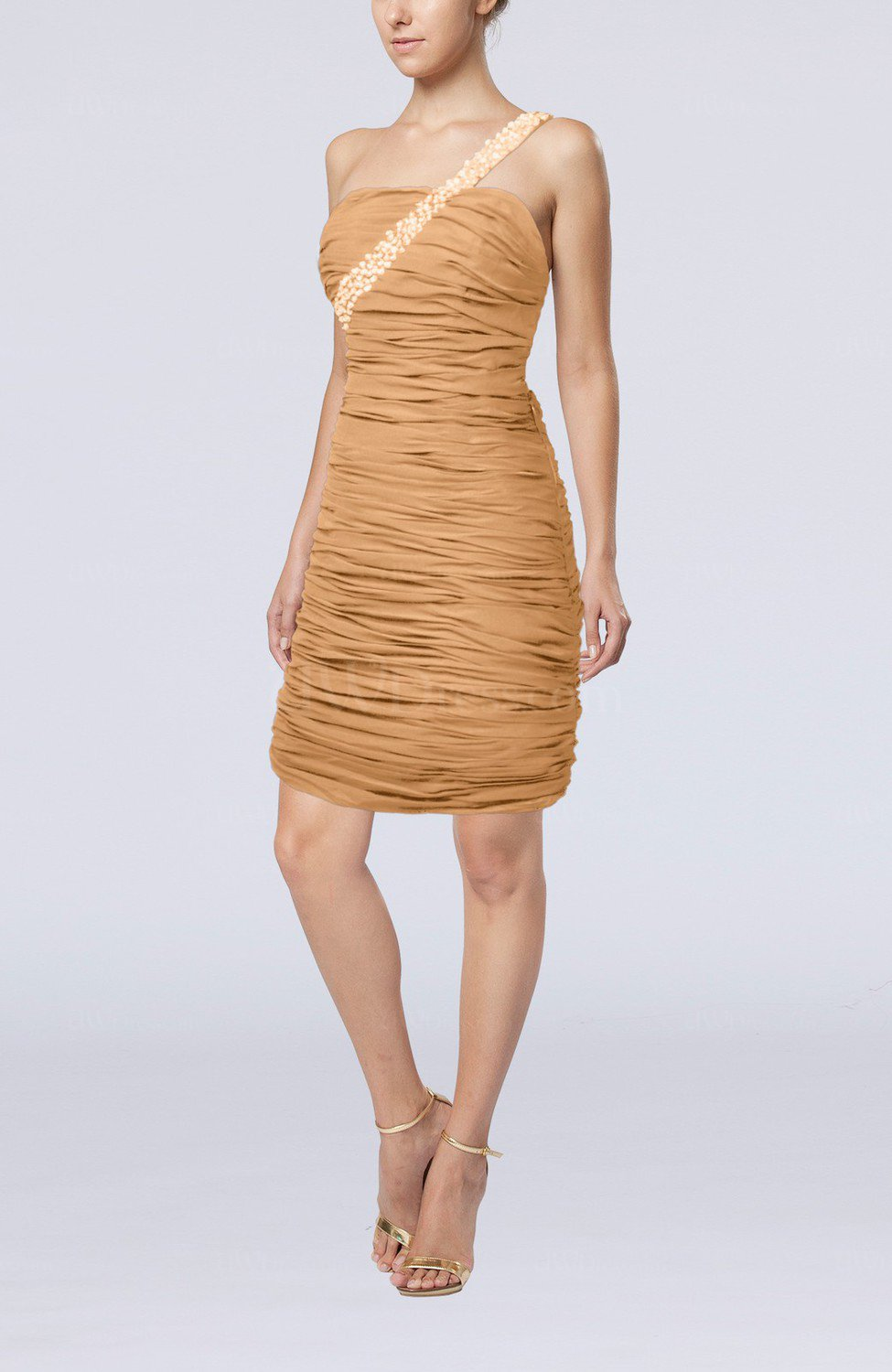 Burnt orange sexy strapless chiffon short ruching wedding for Strapless dresses for wedding guests