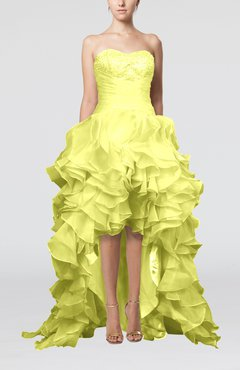 Yellow Cute Sweetheart Sleeveless Lace up Organza Brush Train Homecoming Dresses