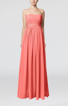 Coral Elegant Strapless Sleeveless Chiffon Sequin Evening Dresses
