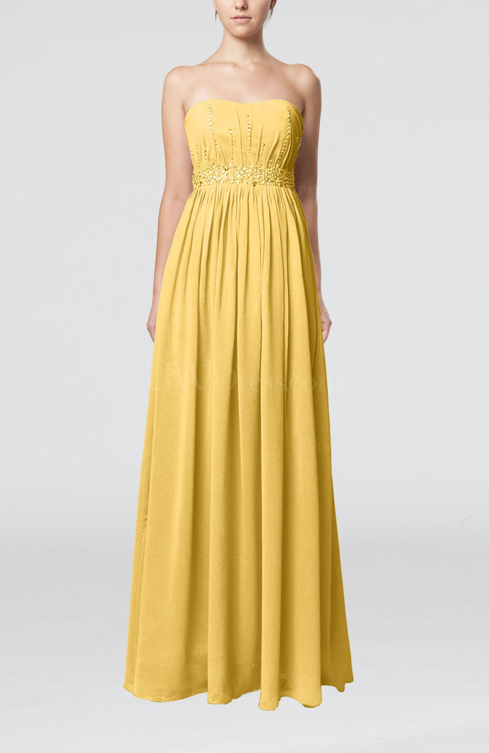 Gold Elegant Strapless Sleeveless Chiffon Sequin Evening