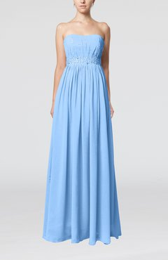 Light Blue Elegant Strapless Sleeveless Chiffon Sequin Evening Dresses