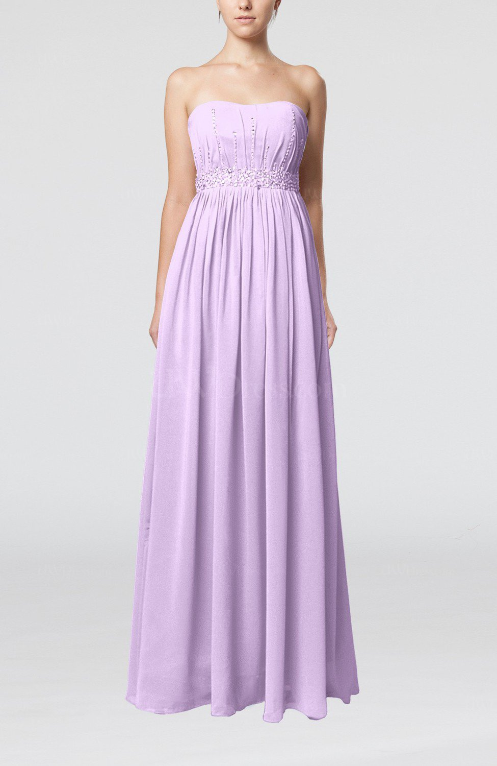 Light Purple Elegant Strapless Sleeveless Chiffon Sequin ...
