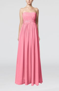 Pink Elegant Strapless Sleeveless Chiffon Sequin Evening Dresses