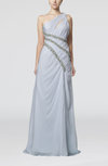 Gorgeous One Shoulder Zipper Chiffon Brush Train Paillette Evening Dresses