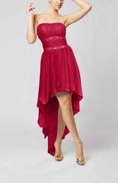 Dark Red Cute Strapless Sleeveless Zip up Chiffon Paillette Party Dresses