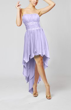 Lavender Cute Strapless Sleeveless Zip up Chiffon Paillette Party Dresses