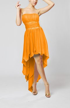 Orange Cute Strapless Sleeveless Zip up Chiffon Paillette Party Dresses