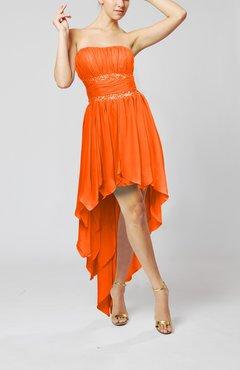 Tangerine Cute Strapless Sleeveless Zip Up Chiffon Paillette Party Dresses