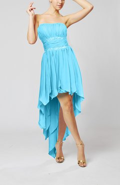 Turquoise Cute Strapless Sleeveless Zip up Chiffon Paillette Party Dresses