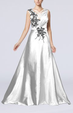 White Classic Church Sleeveless Zip up Court Train Ruching Bridal Gowns