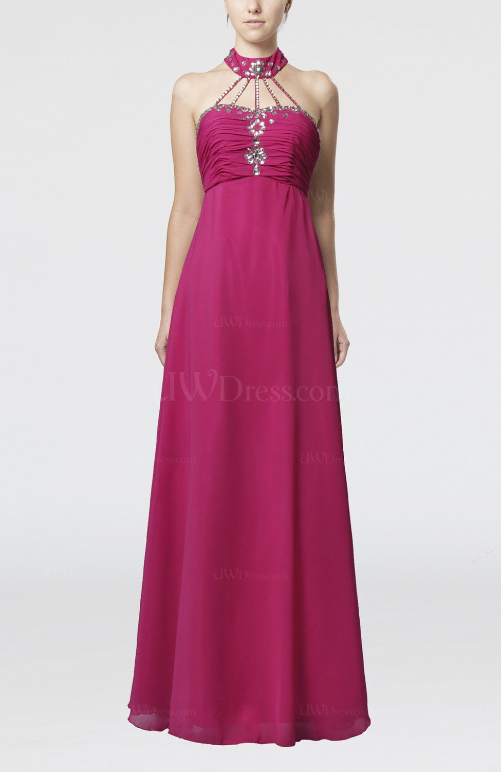 Hot pink elegant empire sleeveless backless paillette for Backless wedding guest dresses