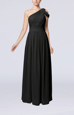Black Romantic One Shoulder Zipper Chiffon Floor Length Ruching Evening Dresses