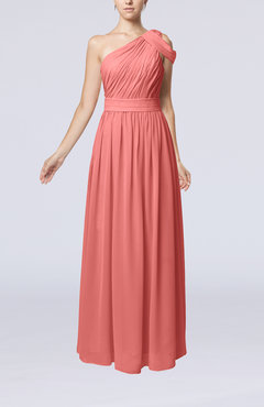 Coral Romantic One Shoulder Zipper Chiffon Floor Length Ruching Evening Dresses