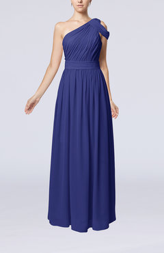 Electric Blue Romantic One Shoulder Zipper Chiffon Floor Length Ruching Evening Dresses