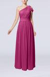 Romantic One Shoulder Zipper Chiffon Floor Length Ruching Evening Dresses