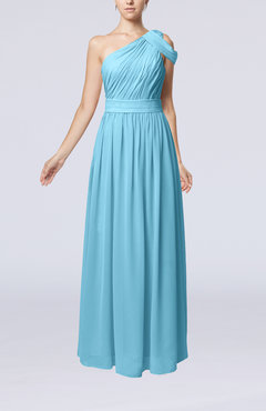 Light Blue Romantic One Shoulder Zipper Chiffon Floor Length Ruching Evening Dresses