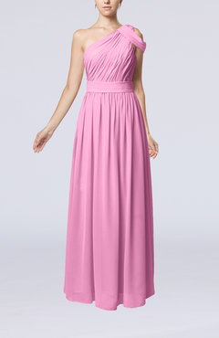 Pink Romantic One Shoulder Zipper Chiffon Floor Length Ruching Evening Dresses