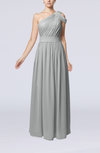 Romantic One Shoulder Zipper Chiffon Floor Length Ruching Evening Dresses