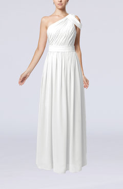 White Romantic One Shoulder Zipper Chiffon Floor Length Ruching Evening Dresses