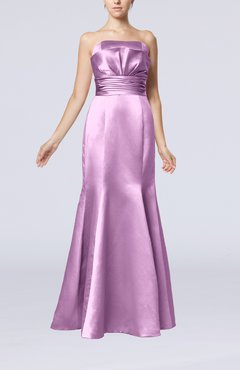 Begonia Simple Strapless Satin Floor Length Pleated Evening Dresses