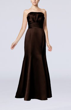 Chocolate Brown Simple Strapless Satin Floor Length Pleated Evening Dresses