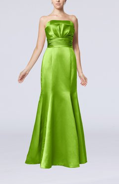 clover simple strapless satin floor length pleated evening dresses - Clover Color
