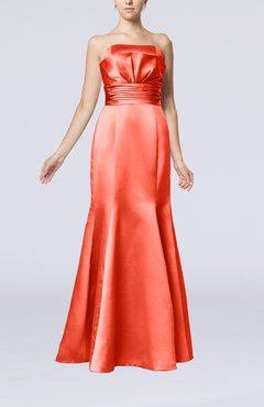 Coral Simple Strapless Satin Floor Length Pleated Evening Dresses