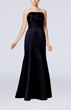 Navy Blue Simple Strapless Satin Floor Length Pleated Evening Dresses