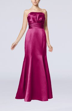 Raspberry Simple Strapless Satin Floor Length Pleated Evening Dresses