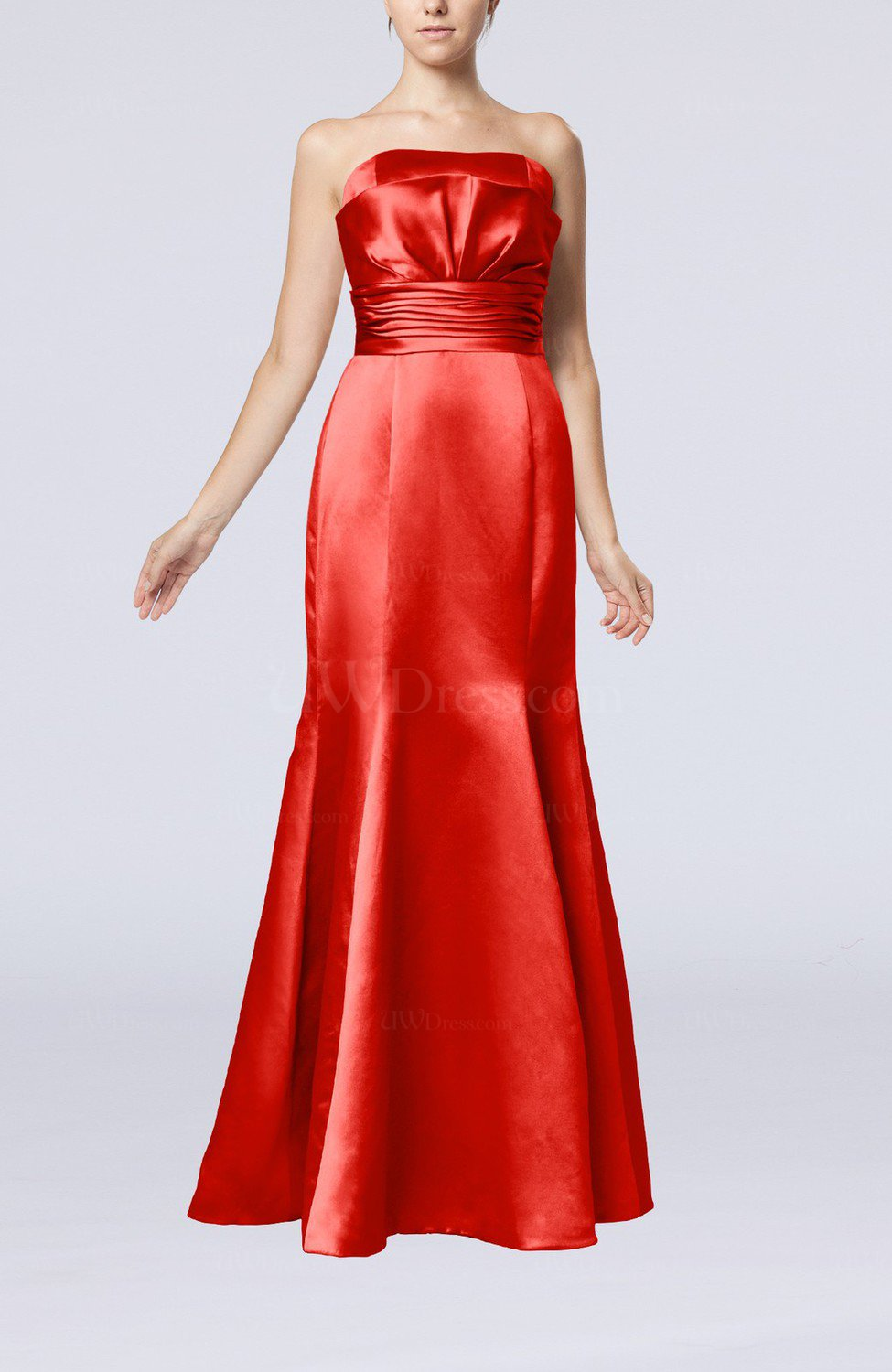 Red Simple Strapless Satin Floor Length Pleated Evening