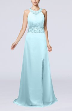 Aqua Elegant Church A-line Backless Chiffon Split-Front Bridal Gowns