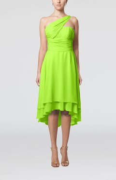 Bright Green Plain One Shoulder Sleeveless Hi-Lo Ruching Homecoming Dresses