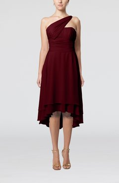 Burgundy Plain One Shoulder Sleeveless Hi-Lo Ruching Homecoming Dresses