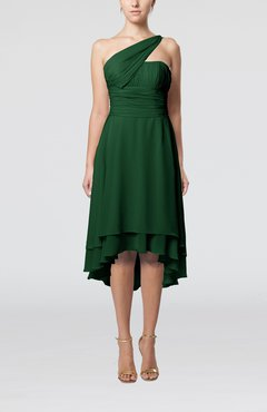 Hunter Green Plain One Shoulder Sleeveless Hi-Lo Ruching Homecoming Dresses