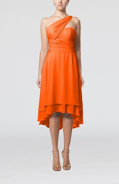 Tangerine Plain One Shoulder Sleeveless Hi-Lo Ruching Homecoming Dresses