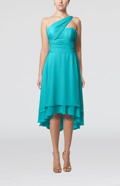 Teal Plain One Shoulder Sleeveless Hi-Lo Ruching Homecoming Dresses