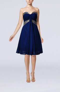 Electric Blue Elegant Sweetheart Sleeveless Chiffon Knee Length Paillette Bridesmaid Dresses