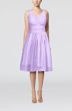 Lilac Simple V-neck Sleeveless Chiffon Knee Length Homecoming Dresses