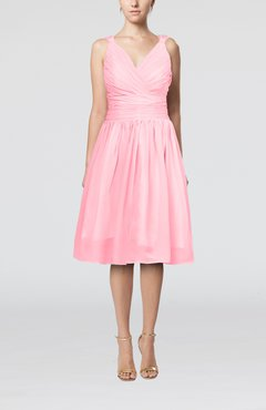 Pink Simple V-neck Sleeveless Chiffon Knee Length Homecoming Dresses