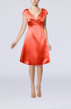 Coral Plain A-line Short Sleeve Zip up Satin Knee Length Little Black Dresses
