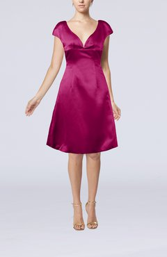 Raspberry Plain A-line Short Sleeve Zip up Satin Knee Length Little Black Dresses