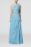 Glamorous Column Criss-cross Straps Chiffon Sweep Train Paillette Homecoming Dresses