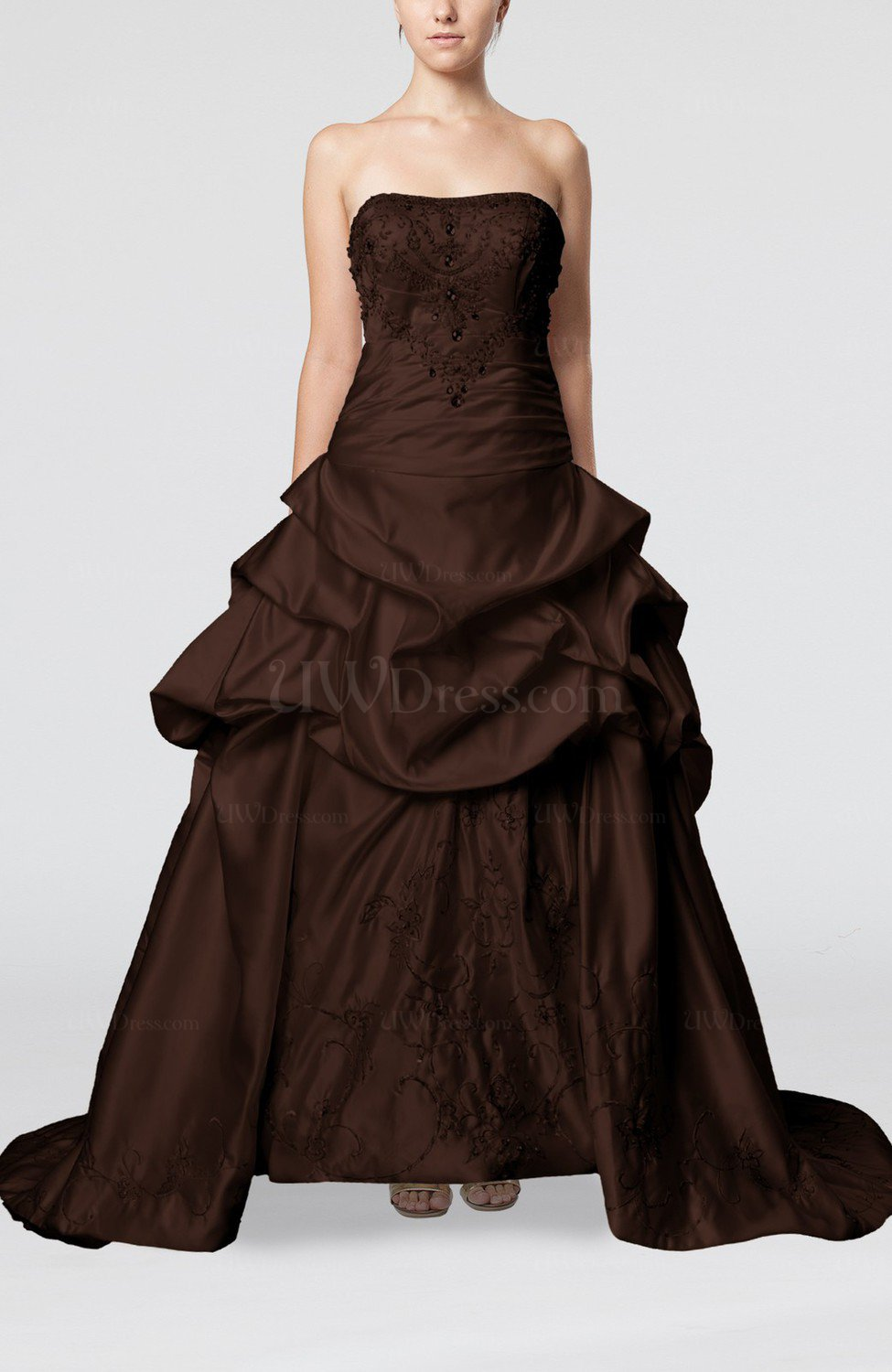 Chocolate brown gorgeous church strapless backless satin for Strapless and backless wedding dress
