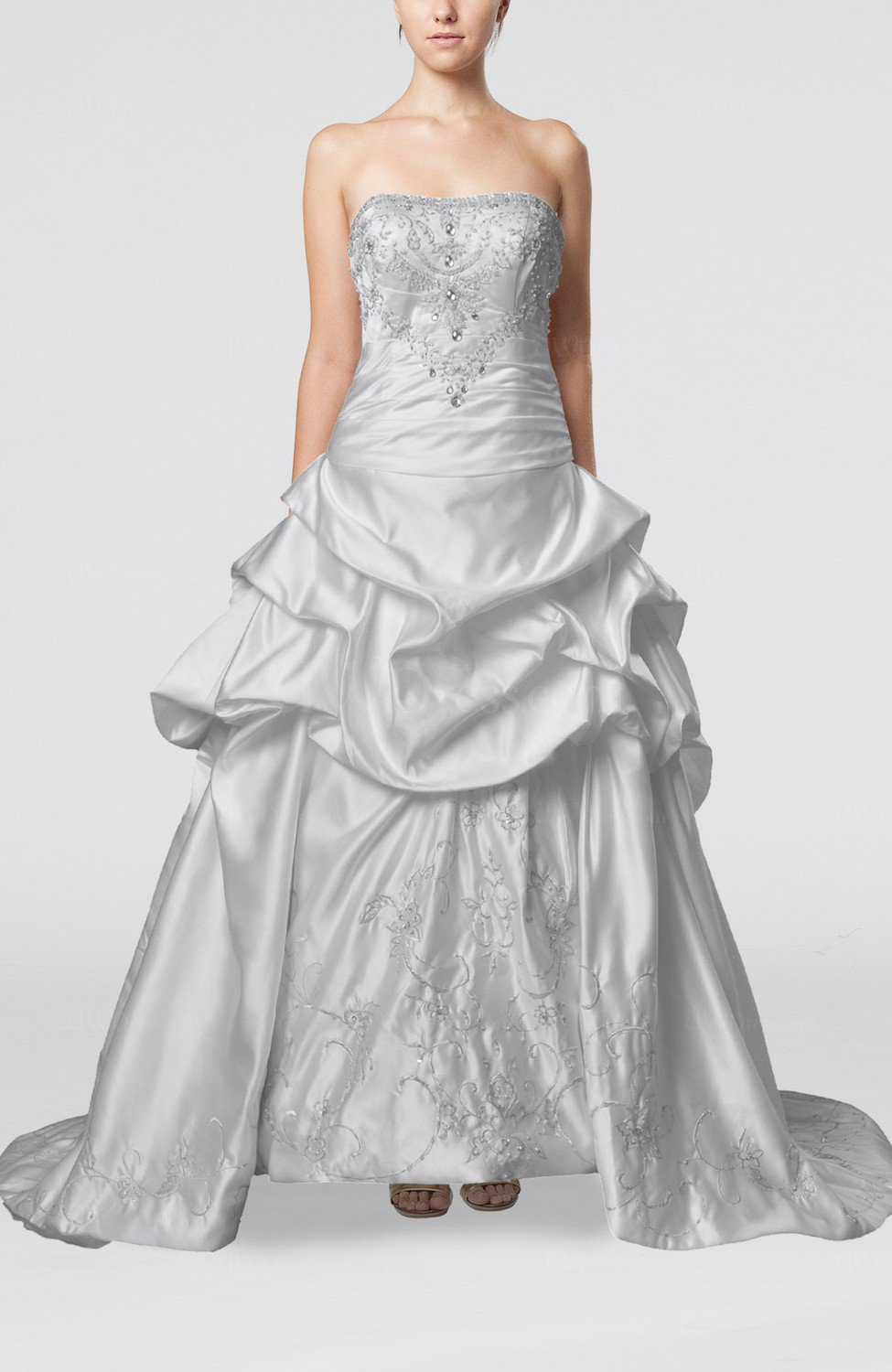 White gorgeous church strapless backless satin embroidery for Strapless backless wedding dress