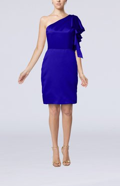 Electric Blue Modern One Shoulder Zip up Elastic Woven Satin Ruffles Party Dresses