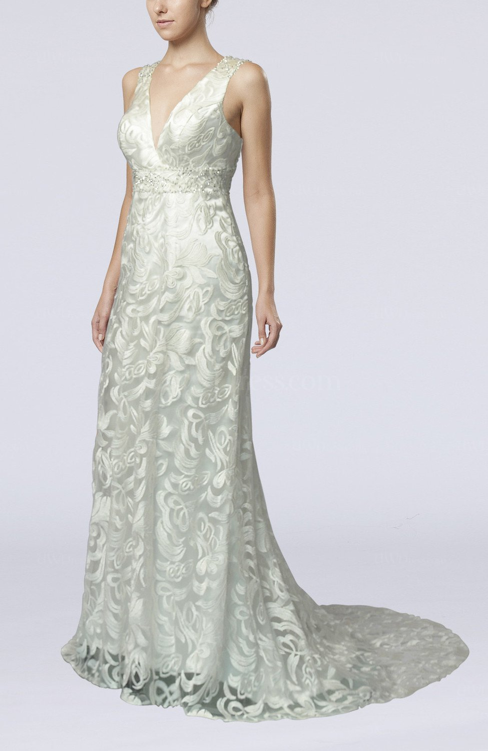Sexy outdoor sheath backless court train paillette bridal for Backless sheath wedding dresses