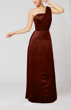 Burgundy Simple Sheath Sleeveless Satin Floor Length Wedding Guest Dresses