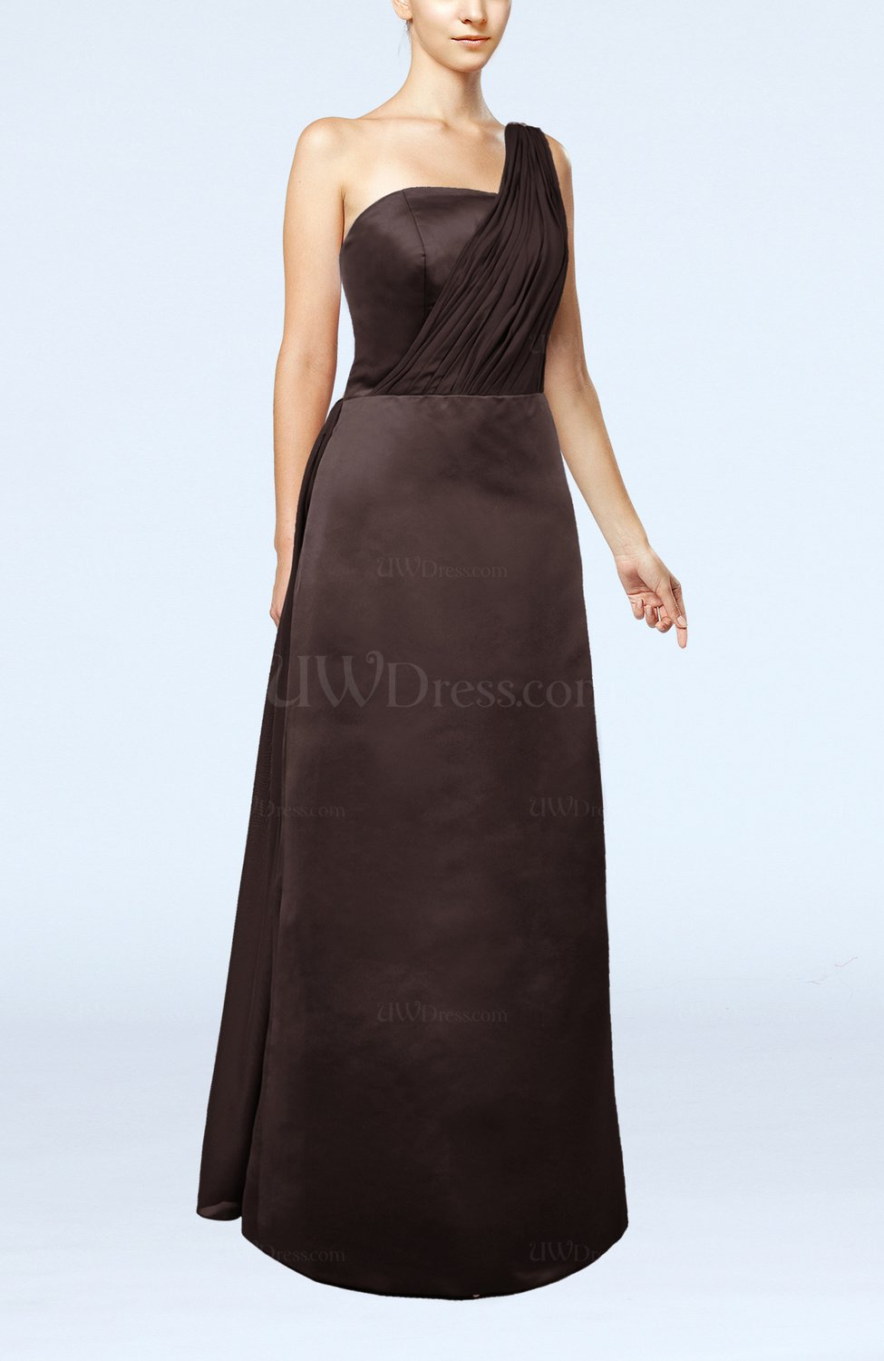 Chocolate brown simple sheath sleeveless satin floor for Brown dresses for wedding guest