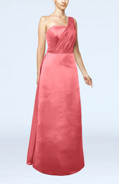Coral Simple Sheath Sleeveless Satin Floor Length Wedding Guest Dresses